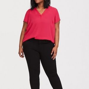 Torrid Short Sleeve Georgette Pullover Blouse
